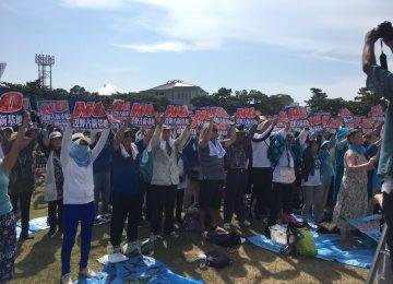 مظاهرة حاشدة في أوكيناوا ضد القواعد العسكرية الأمريكية