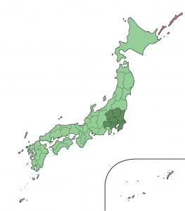 المنطقة المظللة بالأخضر الداكن هي قطاع طوكيو الكبير