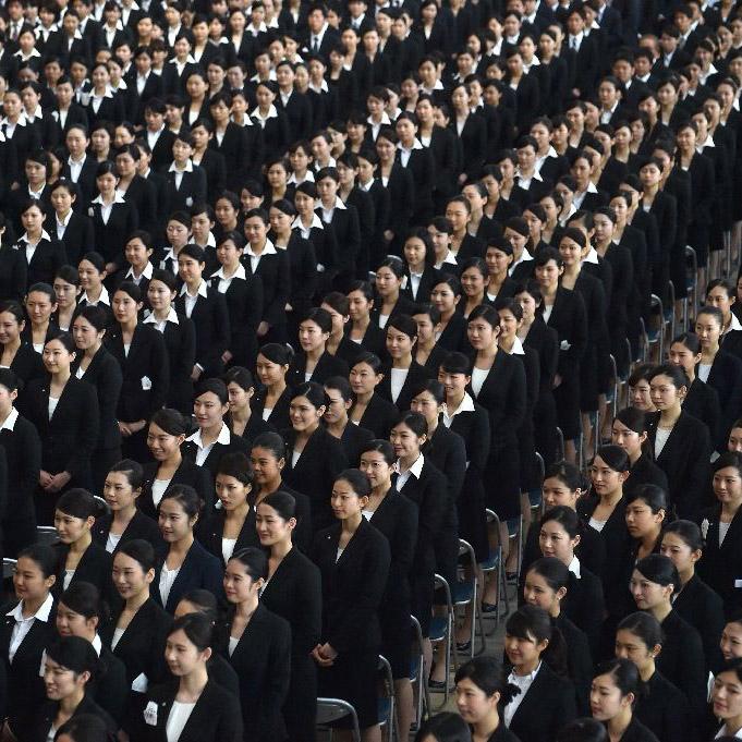 حفل الترحيب بالموظفين الجُدد في الخطوط الجوية اليابانية لعام 2016 - كازوهيرو نوجي عبر وكالة آي أف بي