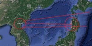 خريطة توضيحية مبسطة للمسارات المحتملة للصواريخ الكورية الشمالية | عبر خرائط غوغل