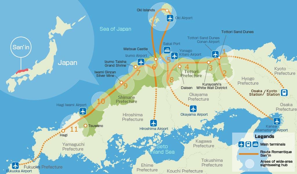خريطة مفصلة باللغة الإنجليزية لإقليم سانين (محافظتي توتوري وشيمانيه تشكلان الإقليم)